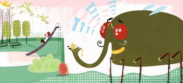 מתוך התערוכה משחקים במוזיאון העיצוב. אורית ברגמן, יומגדול עם צפרנגול, הוצאת כתר