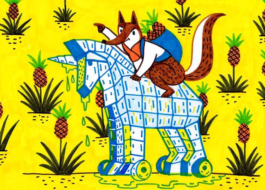 זאביק השועל במסע נקמה על הסוס הטרויאני שלו בשדה האננס המוזהב. איור: אור ליבנה
