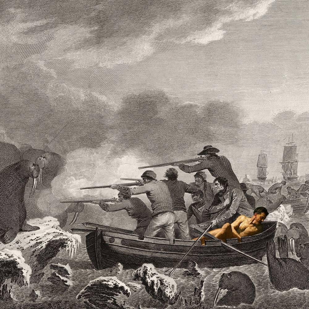 טימור דברה: העבודה מבוססת על תחריטים של ג'ון וובר, המאייר הרשמי של המסע השלישי והאחרון של קפטן ג'יימס קוק הבריטי להוואי ואלסקה (1776-1779), בחיפוש אחרי עולמות חדשים והפנטזיה המעוורת להגיע ל״ארץ לעולם לא״ מעבר לקשת