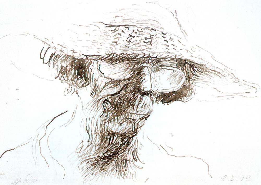 פרידל שטרן, דיוקן עצמי, 1998, דיו על נייר