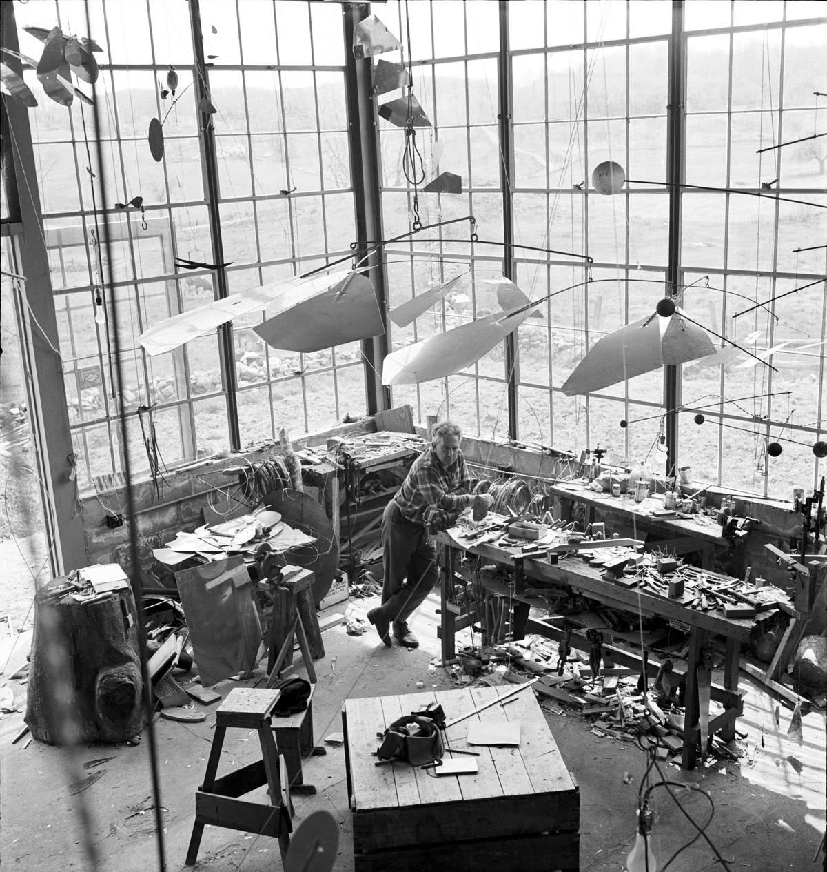 Alexander Calder in his Roxbury studio, 1941. Calder Foundation, New York / Art Resource, NY