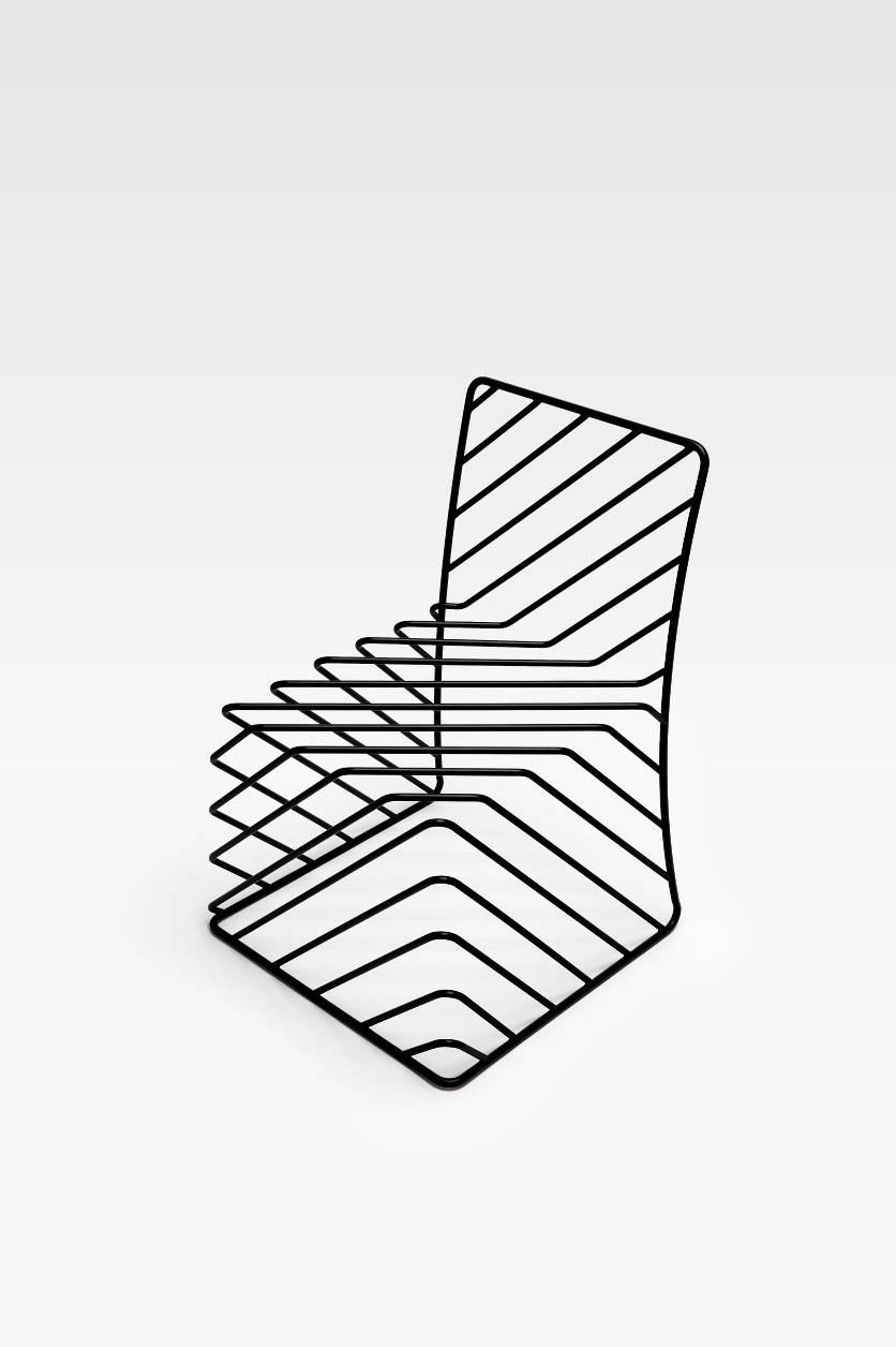 thin black lines chair. image: Masayuki Hayashi