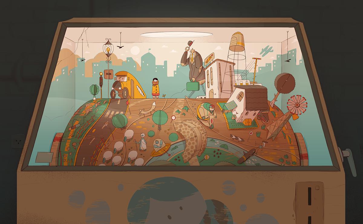 איור של עובדיה בנישו מתוך תהליך העבודה על ״מעגלים״ של ג׳יין בורדו