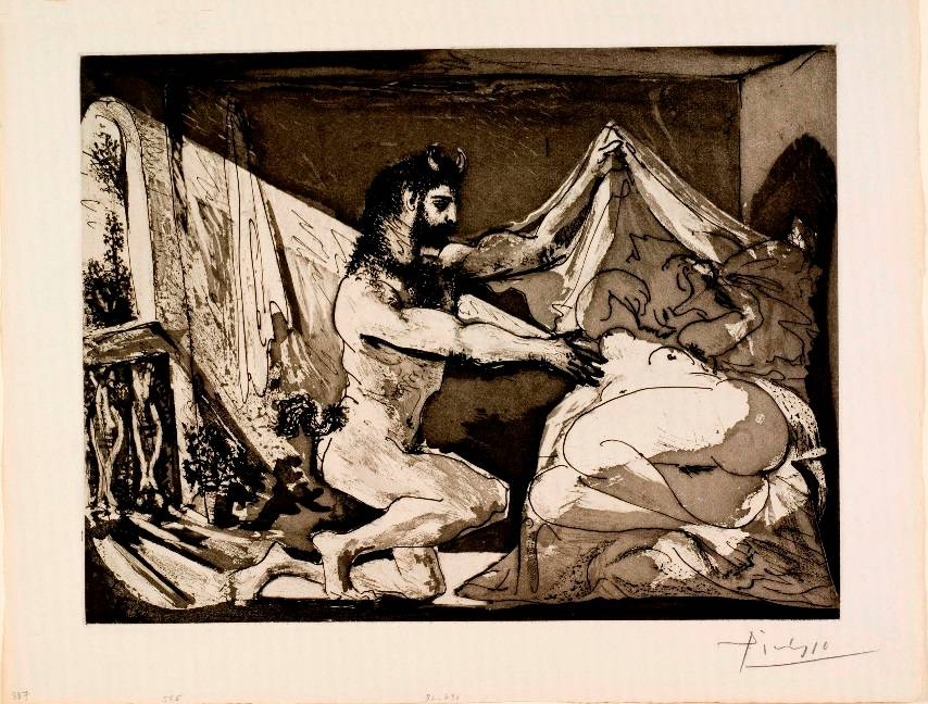פבלו פיקאסו. פאון מגלה אישה. סדרת וולאר. 1936. אוסף מוזיאון ישראל. קרדיט Succession Picasso 2016