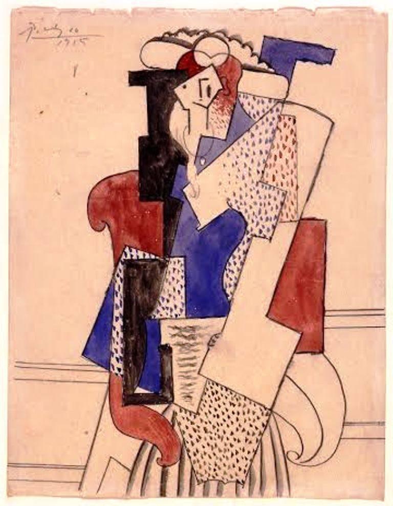 פבלו פיקאסו. אישה עם כובע יושבת, 1915