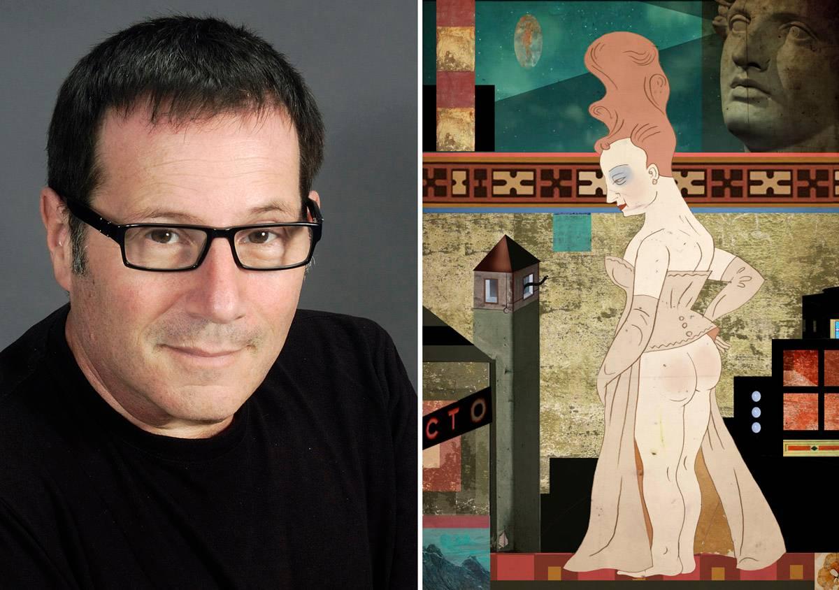 איציק רנרט לצד אחת מעבודותיו שהוצגו השנה בתערוכה ״תוק תוק תוק״ בסדנאות האמנים בתל אביב