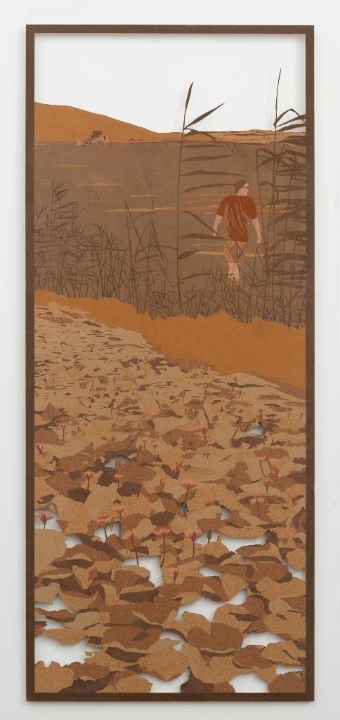 הזורע לוטוס, 2016, חול על קרטון, 193x83, ליאת לבני
