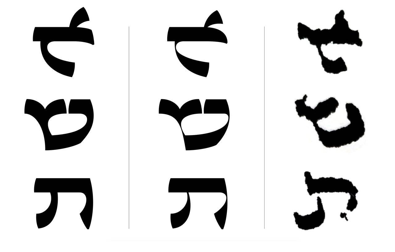 השוואה בין אותיות כתב־היד ואותיות עזר קדים