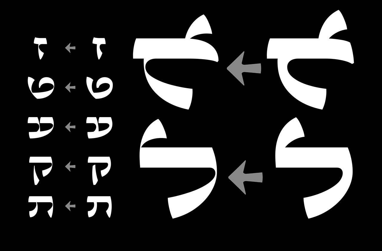 השוואה בין עוביי הקווים של שני נוסחי הפונט