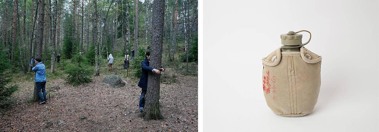 מימיה צבאית, שנות ה־70, ארכיון רוז, שנקר. צילום: לי ברבו; חיבוקים, פינלנד 2012. צילום: עומר פולק