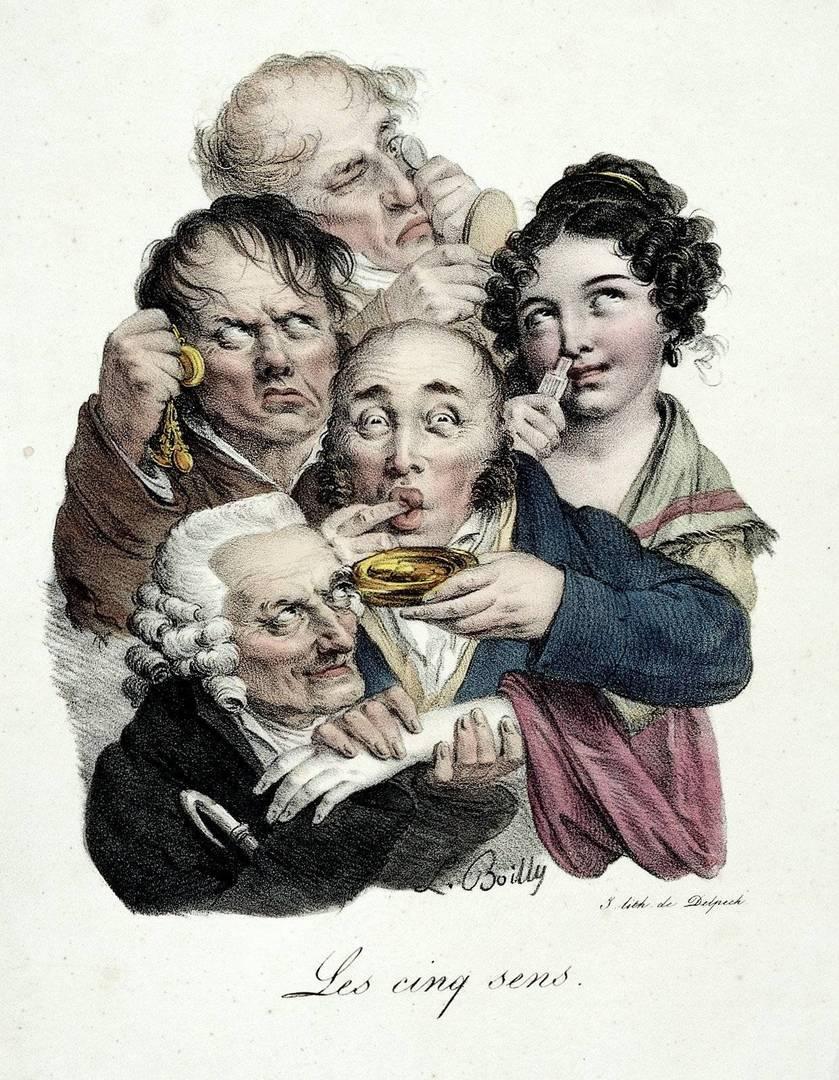 חמשת החושים, בעקבות ליתוגרפיה של לואיס לאופולד בוילי, 1823. צילום: Coloure Wellcome