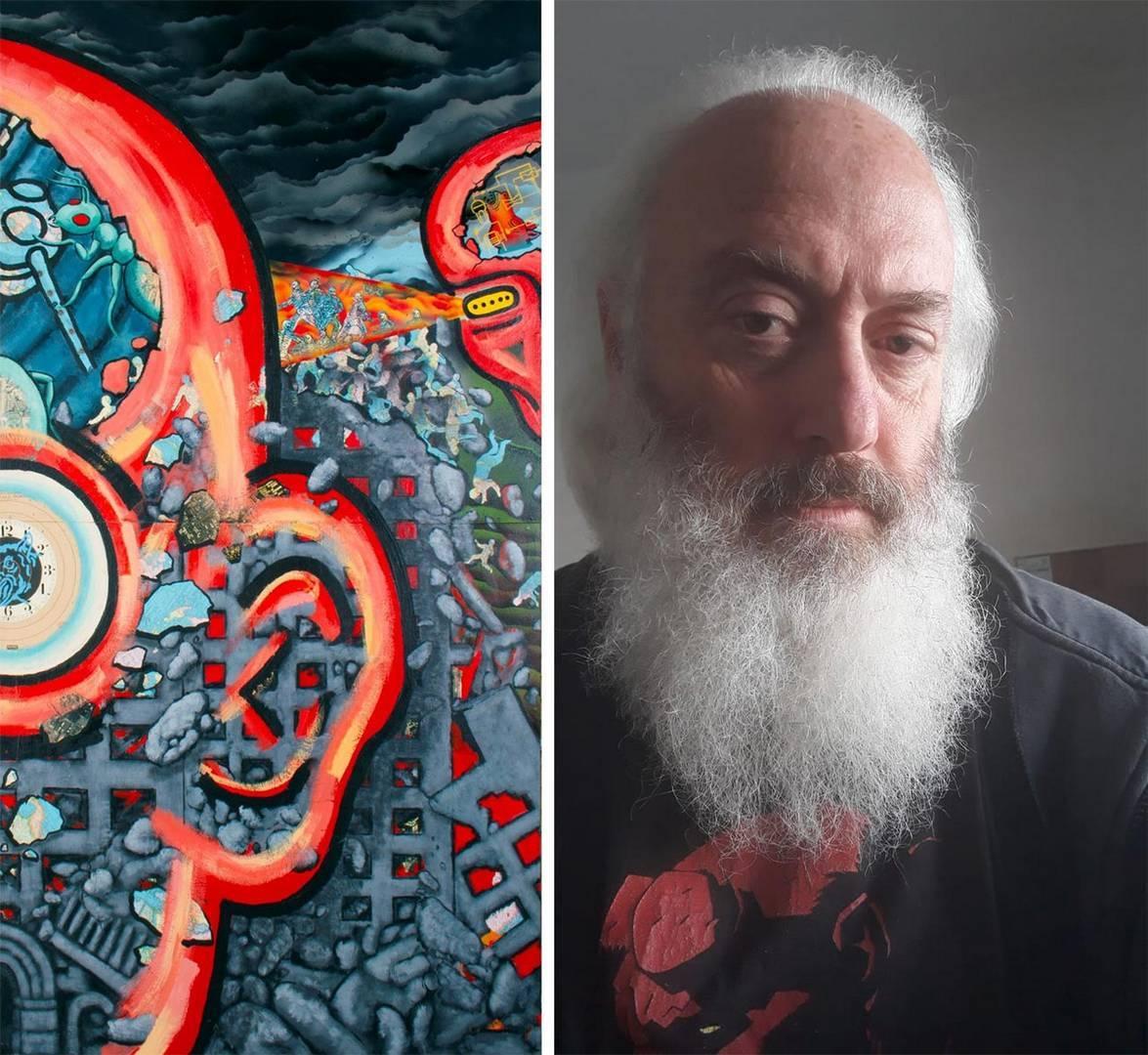 אורי דרומר לצד פרט מעבודתו של דוד ווינארוביץ, אוסף מוזיאון תל אביב