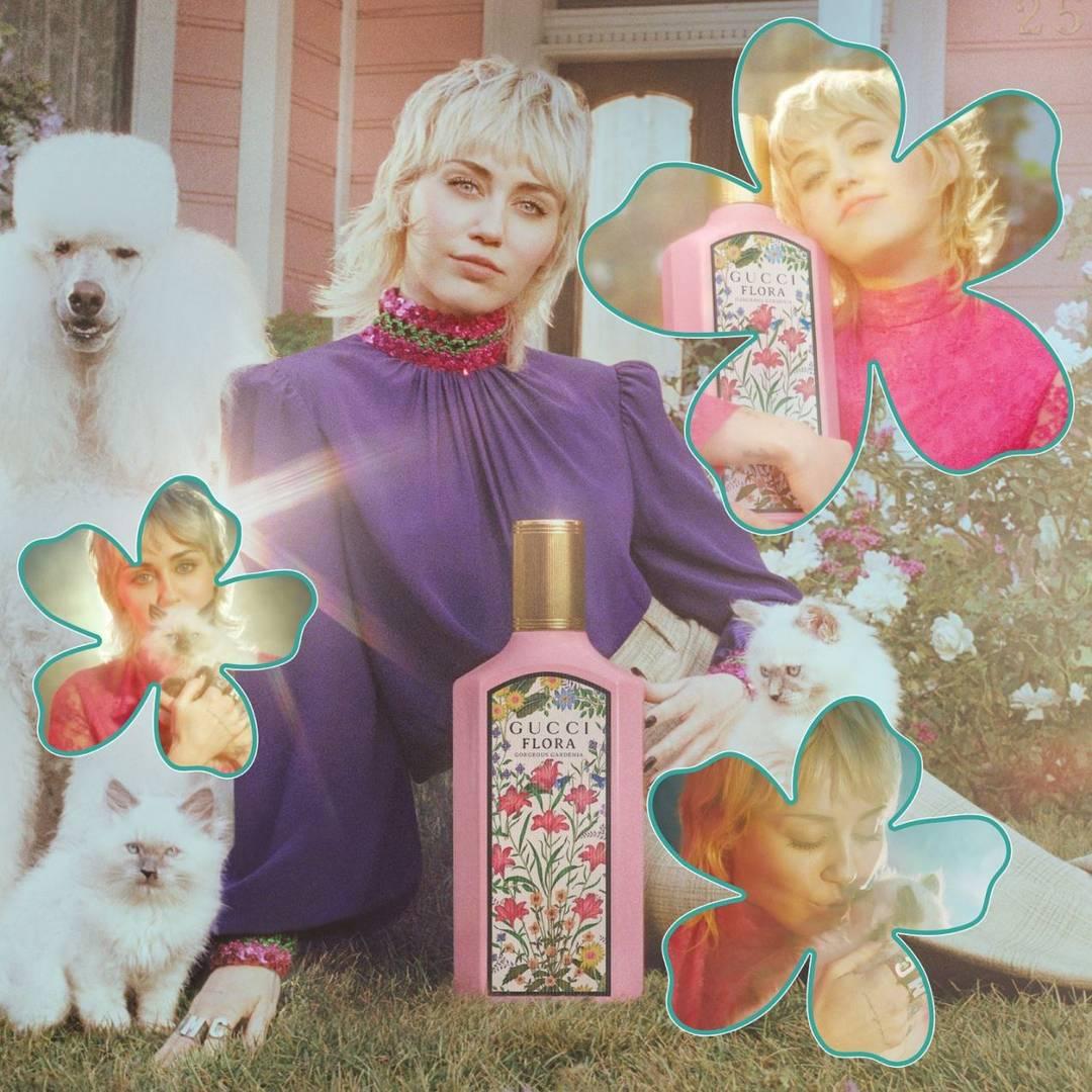 מיילי סיירוס בקמפיין פלורה של גוצ׳י. צילומים: מ״ל
